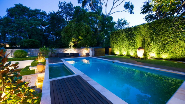 Illuminated pool garden all scape for Garden pool ystad